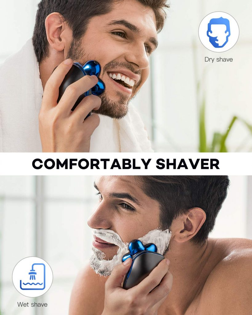 shave with an electric razor or shaver
